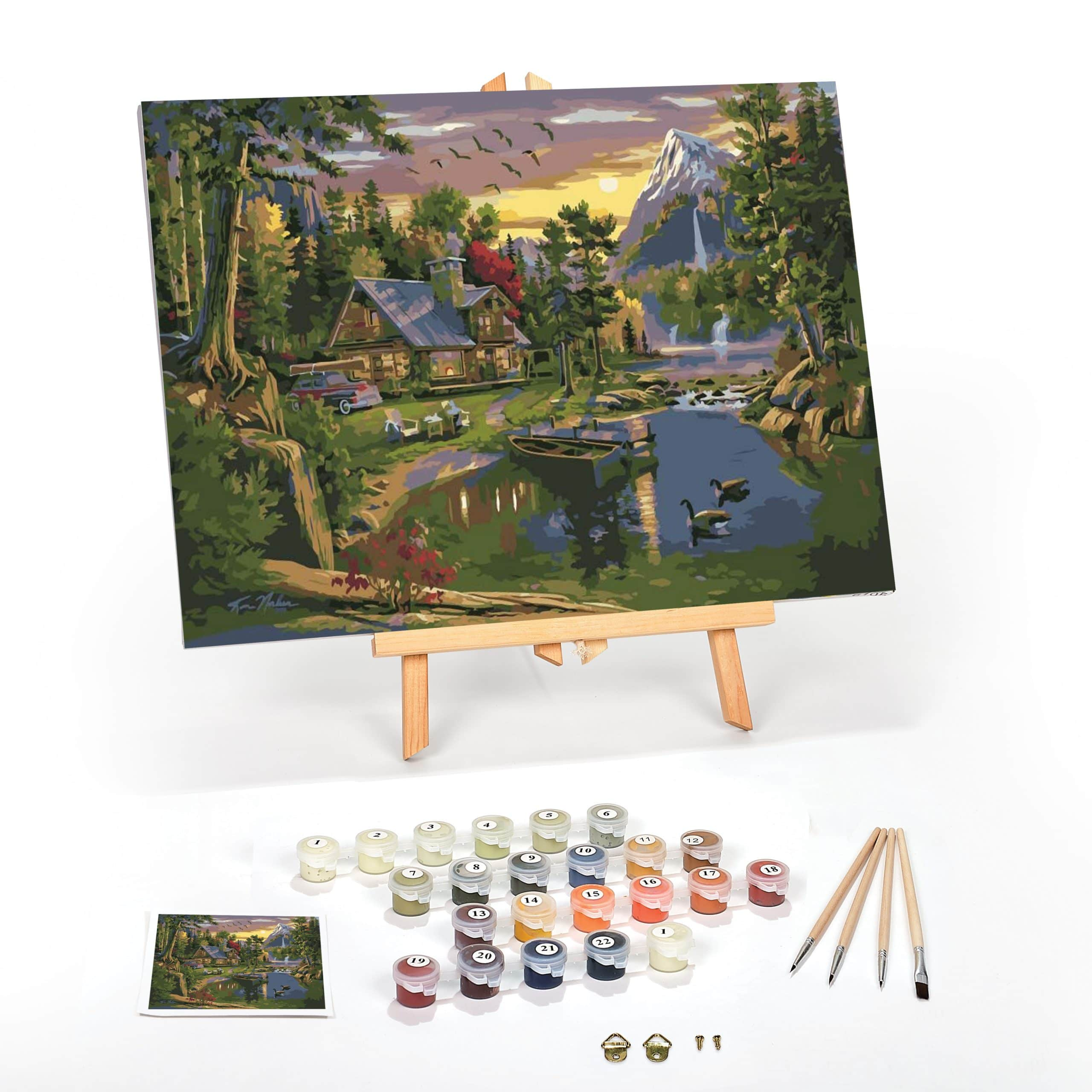 Mountain-Paradise-Paint-By-Numbers-For-Adults-12-x-16-framed